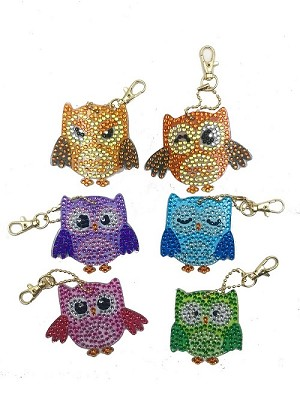 6 CRYSTAL COLORFUL OWL KEYCHAINS Diamond Painting Keychain Kit