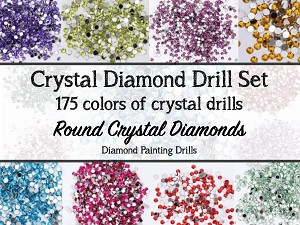 COMPLETE COLOR SET CRYSTAL DIAMOND DRILLS 175 Colors DMC Diamond Painting Drills Round Drill Diamond Dotz