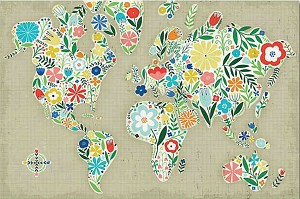 FLORAL WORLD MAP Diamond Painting Kit Paint with Diamonds Kit
