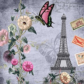 GREY FLOWERS POSTCARDS FROM PARIS Diamond Painting Kit Paint with Diamonds Kit