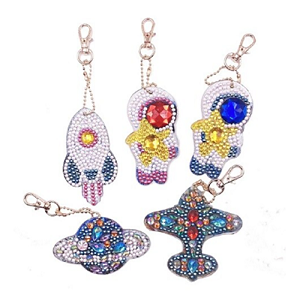 5 CRYSTAL OUTER SPACE KEYCHAINS Diamond Painting Keychain Kit