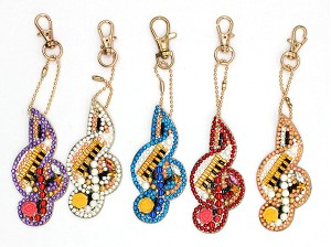 5 CRYSTAL TREBEL CLEF MUSIC NOTES KEYCHAINS Diamond Painting Keychain Kit