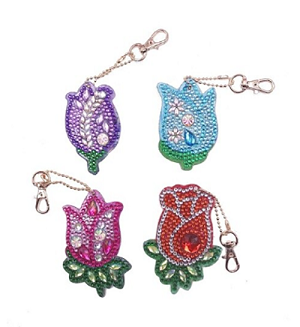 4 CRYSTAL TULIP FLOWERS KEYCHAINS Diamond Painting Keychain Kit