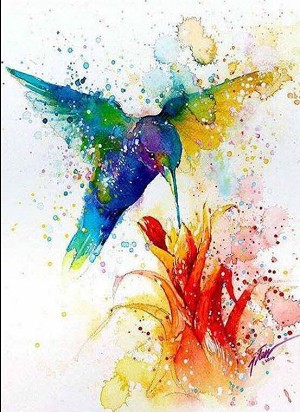 WATERCOLOR HUMMINGBIRD Diamond Painting Kit Paint with Diamonds Kit